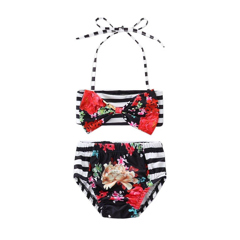 Scfcloth Cute Baby Girls Swimsuit 2Pcs Halter Stripe Bow Swimwear Beach Bikini Set 80% Cotton 20% Spandex