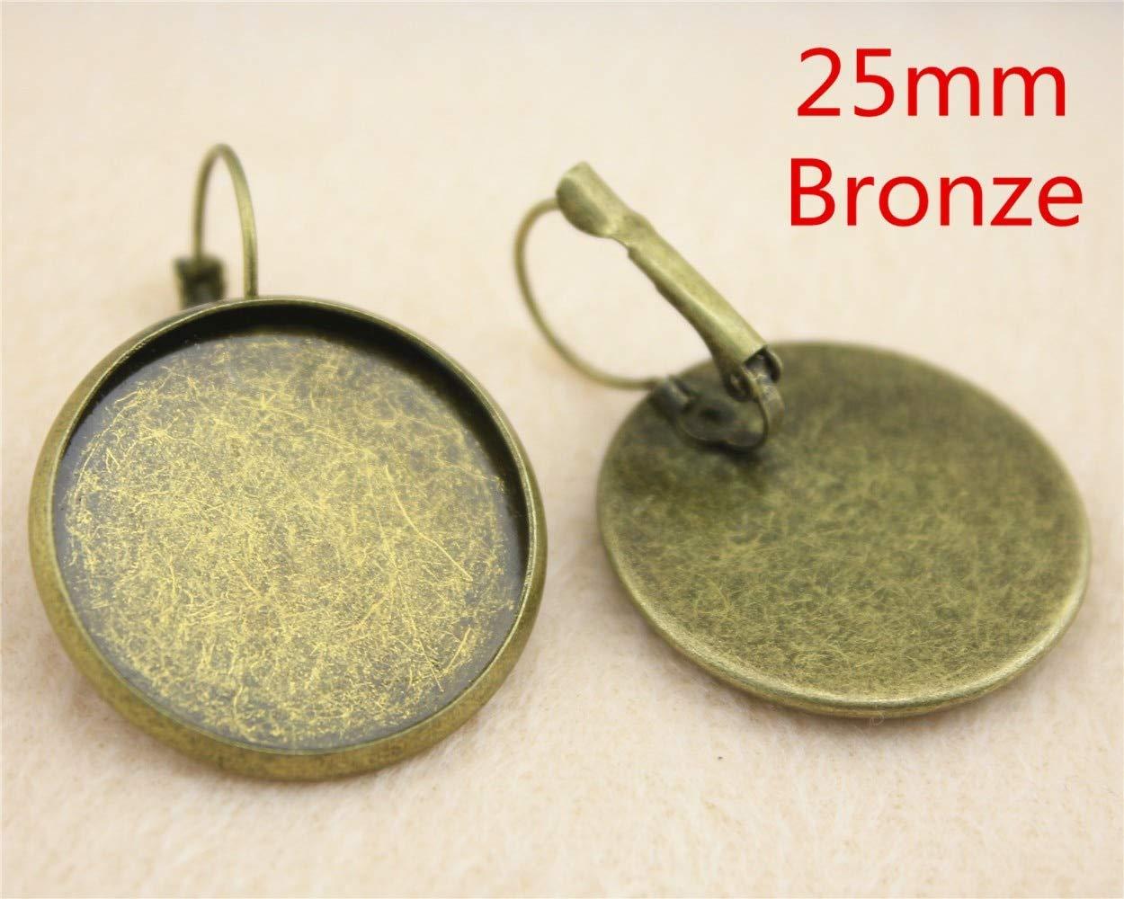 12 ganchos de palanca francesa para colgar MEWME joyer/ía 25 mm suministros H120 de lat/ón con forma de cabuj/ón colgante para manualidades redondos planos