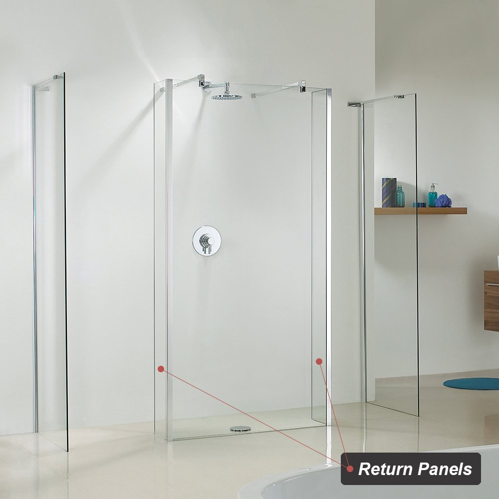 - 250mm Fixed 8mmEasy Clean Safety Glass w Return Shower Wall Glass Return Panel