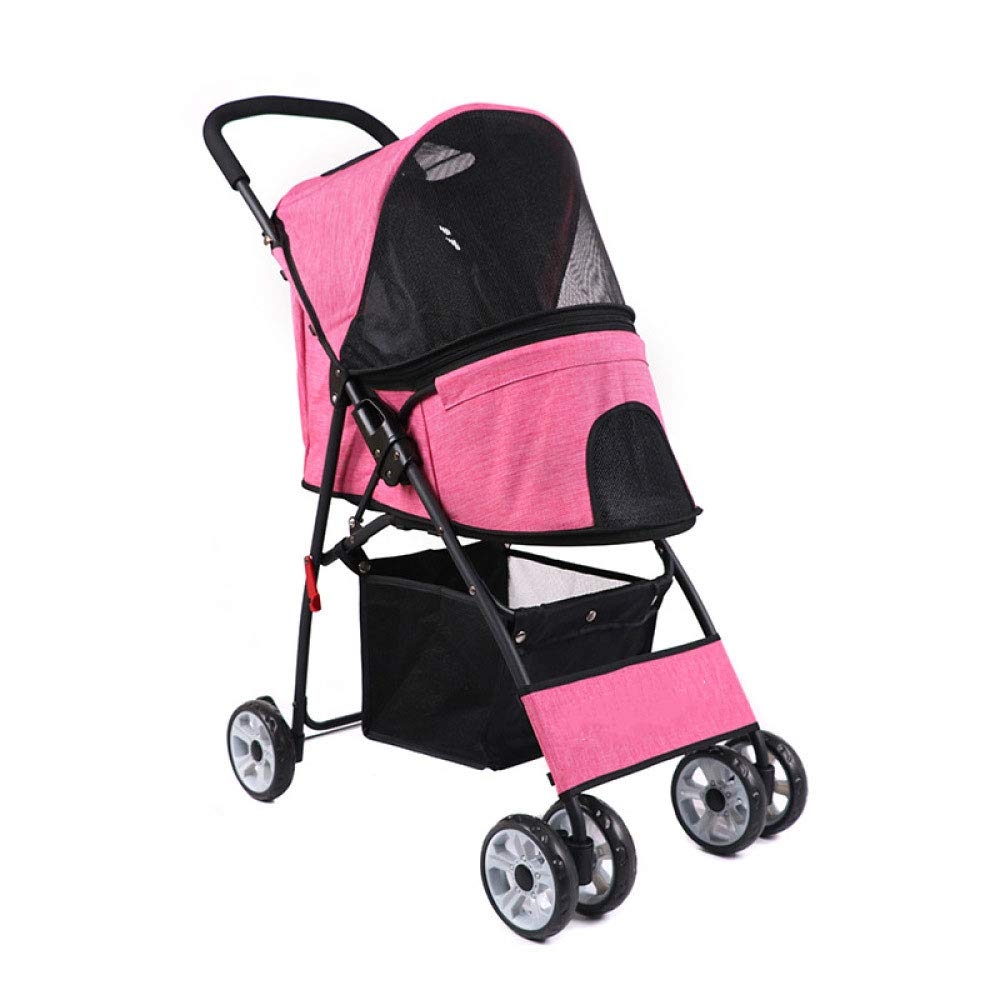 Pink Pet stroller Dog Trolley Cat Trolley Easy To Install Quick Folding Portable (color   Pink)