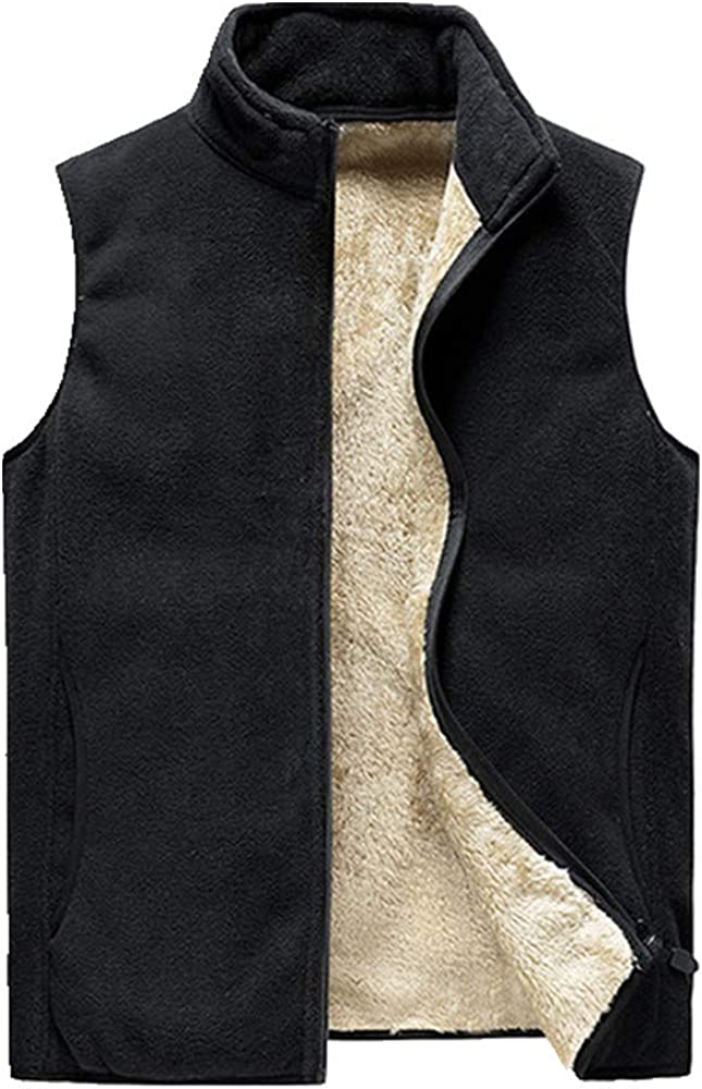 Otoño Invierno Polar Mens Chaleco Chaqueta Casual Sólido Negro Caliente Grueso Chaleco Sin Mangas Chaleco Chaleco Campera