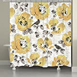 Laural Home MGL72SC Morning Glory Shower Curtain,Yellow