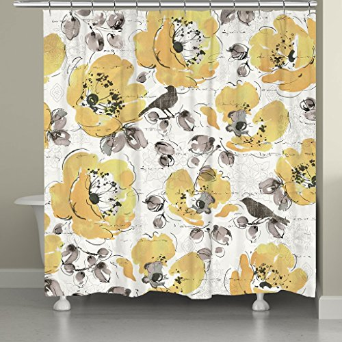 Cheap Laural Home MGL72SC Morning Glory Shower Curtain,Yellow supplier