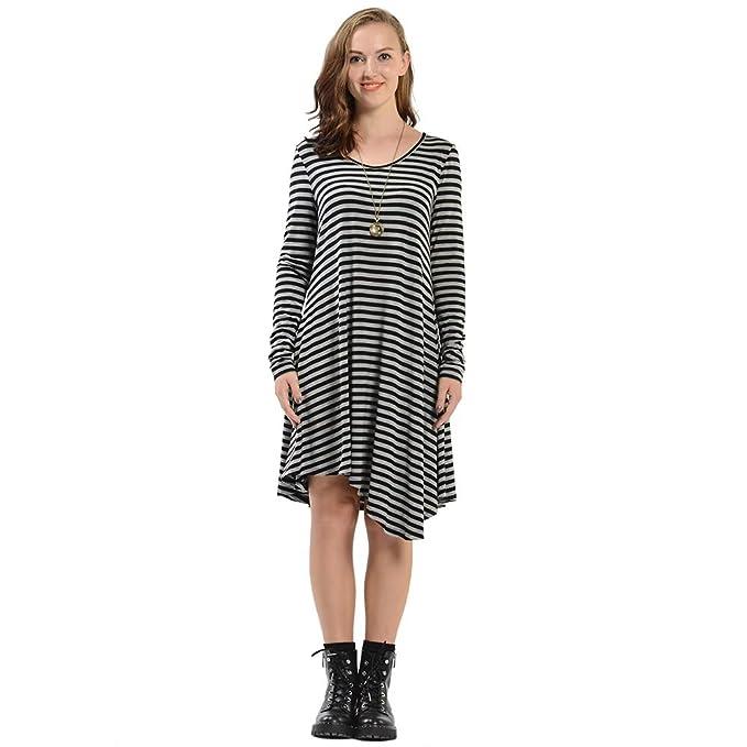 0d40e871d4 Amazon.com: Luyomy Women's Long Sleeve Striped Casual Loose Irregular Swing  Tunic T-Shirt Dress: Clothing