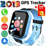 [SIM Card Included]Kids Smart Watch Phone for Girls Boys 3-12 Year Old, IP68 Waterproof GPS Tracker Locator Touch Games SOS Outdoor Digital Wrist Cellphone Watch Bracelet for Holiday Birthday (Blue)