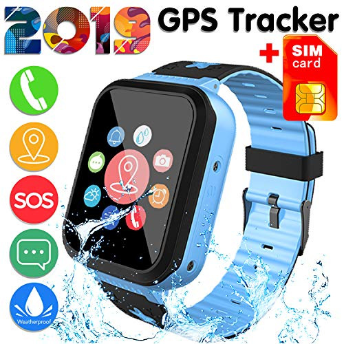 [SIM Card Included]Kids Smart Watch Phone for Girls Boys 3-12 Year Old, IP68 Waterproof GPS Tracker Locator Touch Games SOS Outdoor Digital Wrist Cellphone Watch Bracelet for Holiday Birthday (Blue) (Best Phone For 11 Year Old Boy)