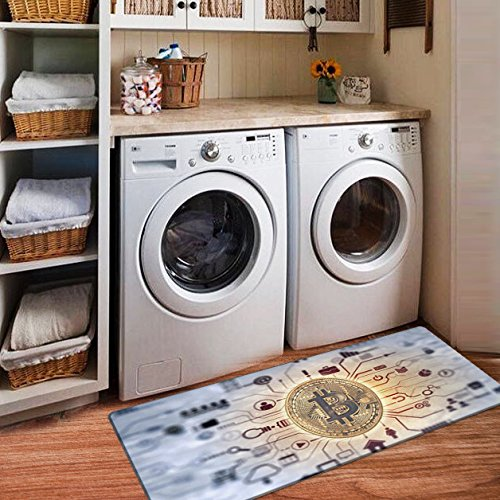 USTIDE Vintage Style Non Skid Floor Mat Bitcoin Design Laundry Room Mat for Wash Room 2x4 (Blue)