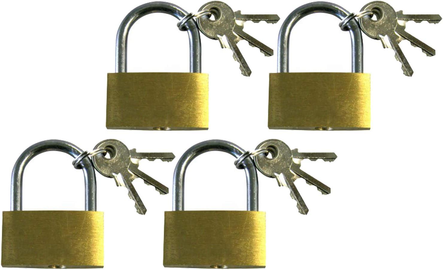 com-four® 4X Candado de latón - Cerradura de Seguridad con 3 Llaves - Candado para el hogar y el Trabajo