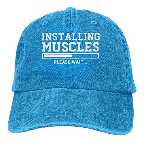 Wons Unisex INSTALLING MUSCLES Cotton Washed Denim Travel Caps Adjustable RoyalBlue from Wons