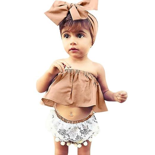 865d90e11 Lanhui 3Pcs Infant Outfits Baby Girl Solid Off Shoulder Tops Lace Shorts Set  (Khaki