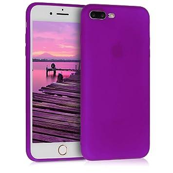 kwmobile Funda para Apple iPhone 7 Plus / 8 Plus - Carcasa para móvil en TPU Silicona - Protector Trasero en Violeta neón