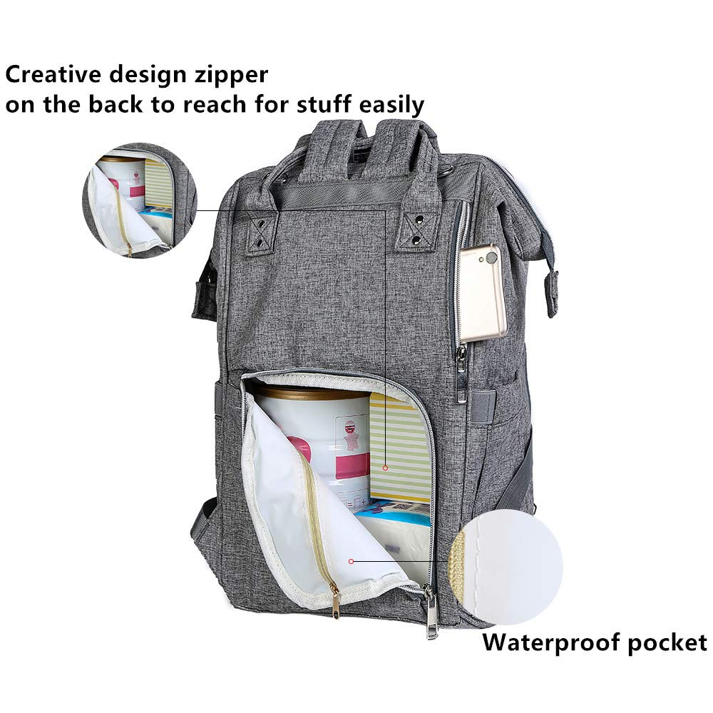 Diaper Bag Multi-Function Waterproof Travel Backpack Nappy Bags for Baby Care, Large Capacity, Stylish and Durable, black by WJASI (grey)