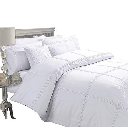 KING SIZE LUXURY 200 TC WHITE STRIPE DUVET SET QUILT COVER BEDDING BED SET