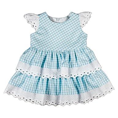 2940b3131e0da7 Babykleid Kleid Sommerkleid Landhausstil Stickerei hellblau weiß kariert  Bavaria (68)