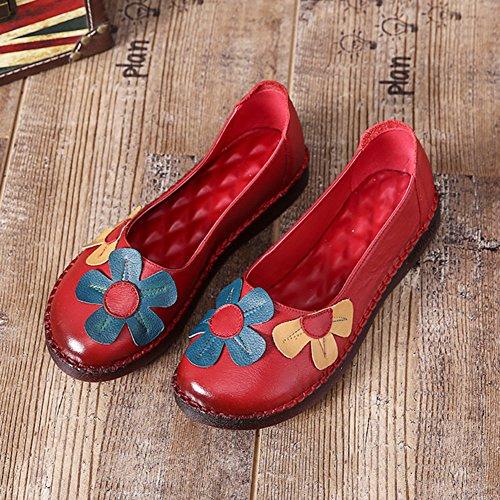 Btrada Kvinners Vintage Blomster Loafers Myke Runde Toe Kjøre Mokasiner Uformell Våren Flat Båt Sko Røde