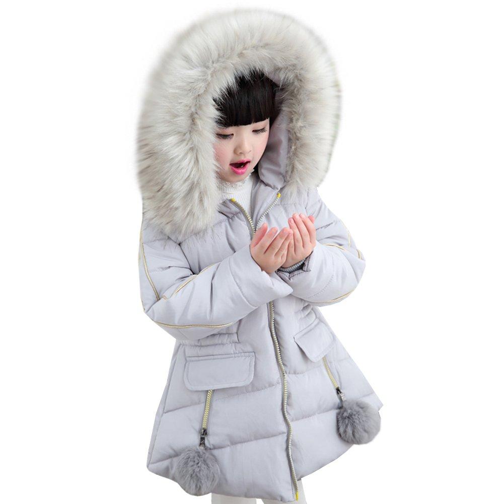 LSERVER Little Big Girl Winter Parka Warm Down Coat Puffer Jacket Down Cotton Padded Overcoat With Fur Hood