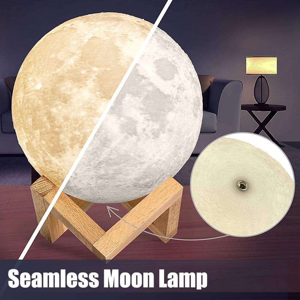 Touch /& Remote Control /& USB Rechargeable Baby Light Gift for Girls Lover Christmas HWAY Moon Lamp 16 Colors LED 3D Printing Moon Lamp with Wood Stand 4.7 Inch
