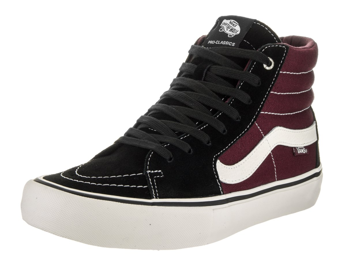 Vans Sk8-Hi Unisex Casual High-Top Skate Shoes, Comfortable and Durable in Signature Waffle Rubber Sole B01I0LJQPK 13 D(M) US|Black/Port