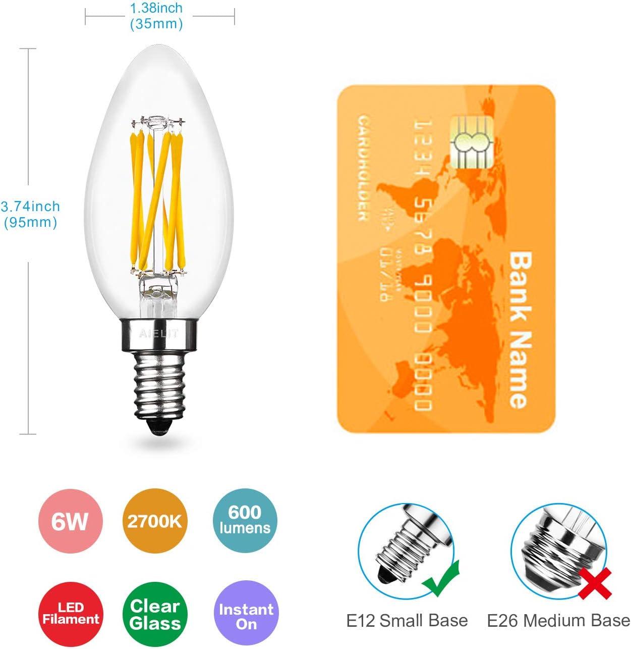 0-100/% 6W Vintage LED Candle Bulbs 60 Watts Equivalent Sputnik Chandelier Semi-Flush Mount Dimmable 4 Pack Warm White 2700K AIELIT B11 E12 LED Light Bulb for Kitchen Island Linear Pendant