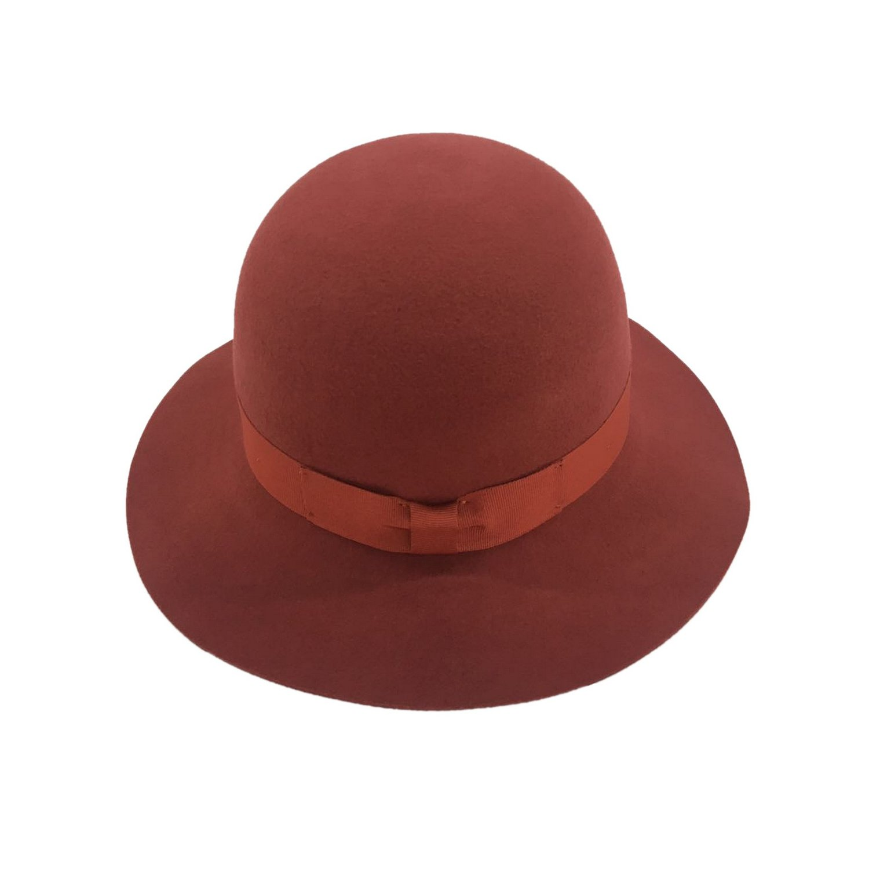 Women's Winter Short Brim 100% Wool Cute Bowler Felt Hat (dark red)