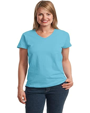 8dcf2a38 Hanes Womens T-Shirt - V-Neck - Relaxed Fit ComfortSoft: Amazon.co.uk:  Clothing