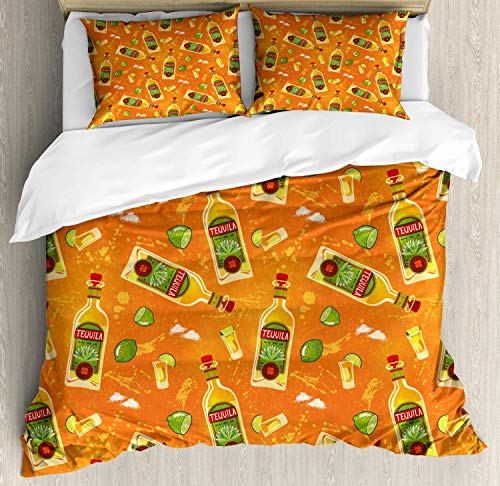 Tequila Bedding Duvet Cover Set, Pattern of Alcoholic Drink Bottles Shot Glasses and Limes, Decorative 3 Piece Bedding Set with 2 Pillow Shams, Orange Olive Green Vermilion Mustard -