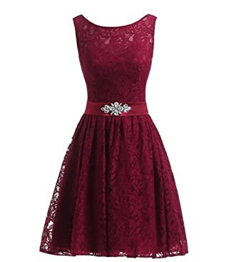 Lisianthus002 Womens Short Lace Cocktail Party Prom Dresses 20 Burgundy