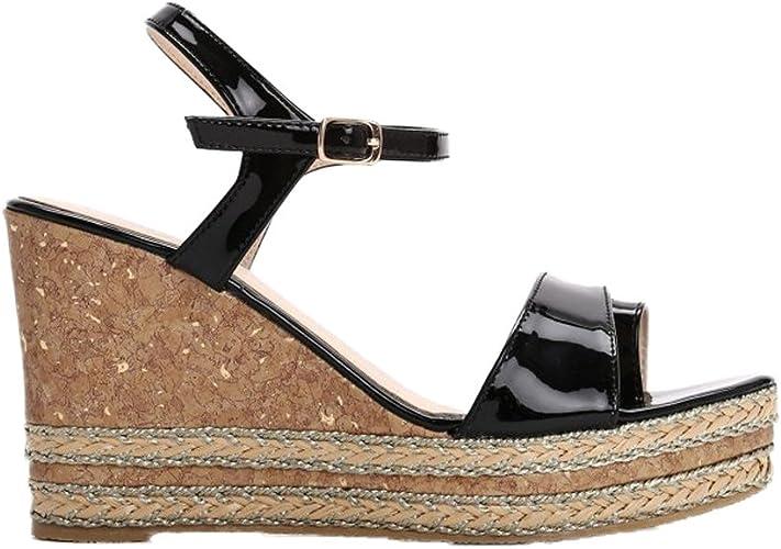 Damenschuhe Keilabsatz Peeptoe Plateau Canvas Sandalen Schnalle Schnürer Sneaker
