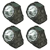 Sunnydaze Decorative Garden Rock Solar Light Wireless with LED Light - Set of 4