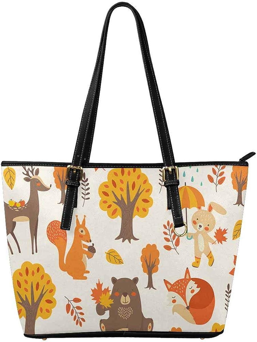INTERESTPRINT Autumn Fox Leaf Fashion Womens PU Leather HandBags Ladies Shoulder Bags Tote Bags