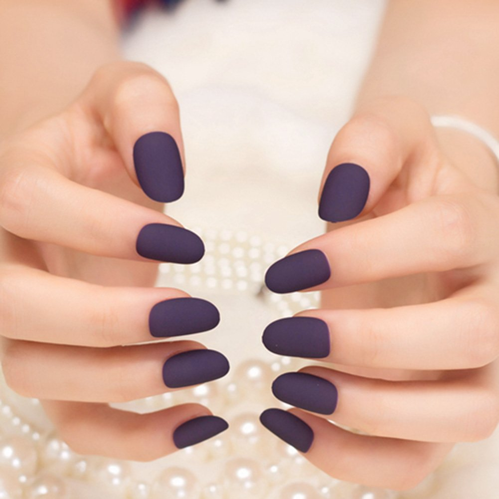 Amazon.com : YUNAI 24Pcs False Nails Deep Purple Matte Manicure ...