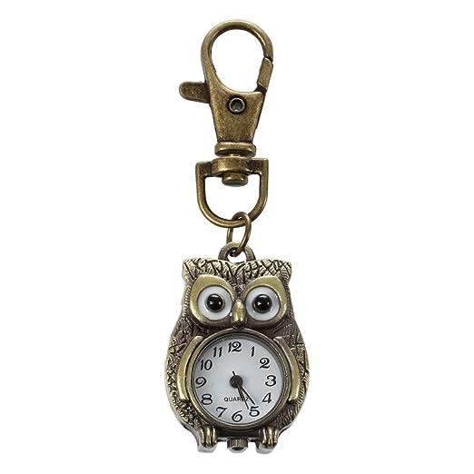 SODIAL(R) Reloj llavero Claves en forma de Buho 37x24mm