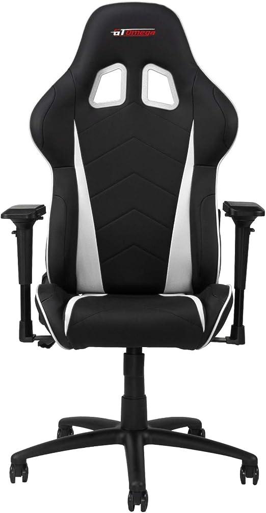 GT OMEGA Pro Chaise de Jeu Course avec Support Lombaire Ergonomique Fauteuil de Bureau en Cuir avec 4D Accoudoir Réglable et Inclinable Arrière