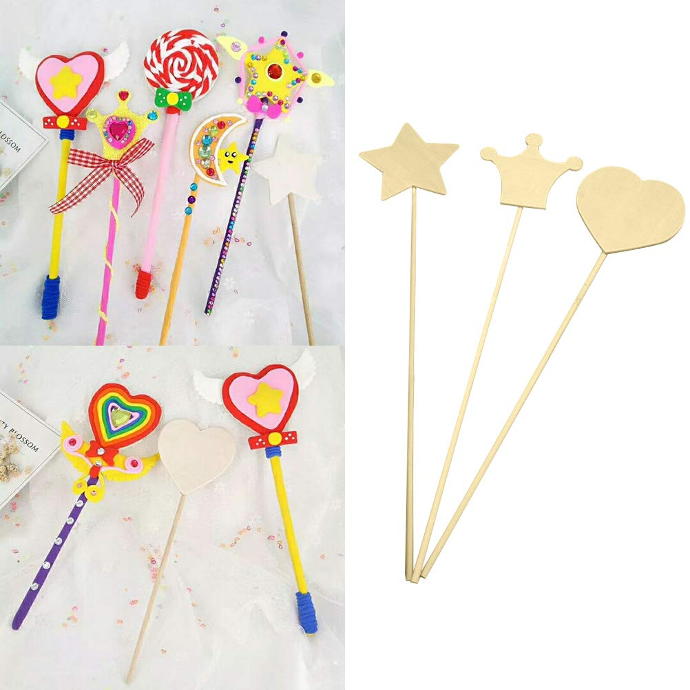 Toyvian Wood Craft Stick Magic Wand Handmade Toy Material DIY Craft Accessory for Kids 3pcs Random Pattern