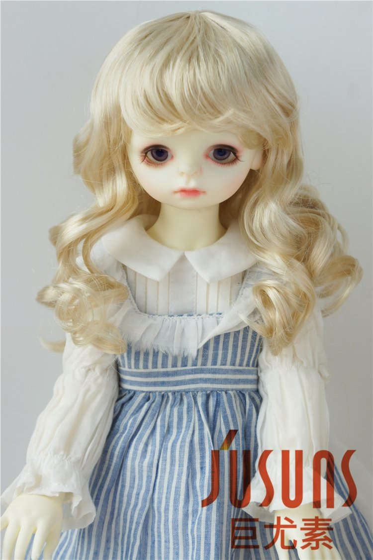 JD390 8-9inc 21-23CM Long wave Doll wigs 1/3 SD synthetic mohair Resin doll accessries (Blend Blond)