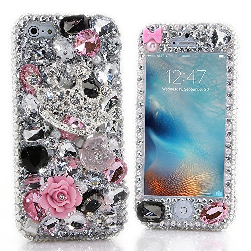iPhone 7 Plus Bling Case - Fairy Art Luxury 3D Sparkle Series Front & Back Snap-on Hard Cover with Soft Wallet Purse Red Cloth Pouch (Princess Crown Rose Flowers / Pink&Silver)