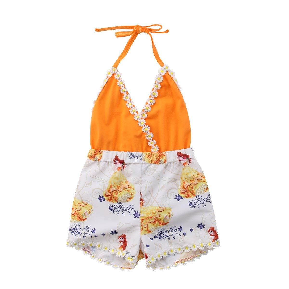 WANGSAURA Baby M/ädchen Halfter Einteiler Sommer Kleinkind Overall Outfit Lace r/ückenfreie Kleidung mit Druck Sunflower Sunsuit