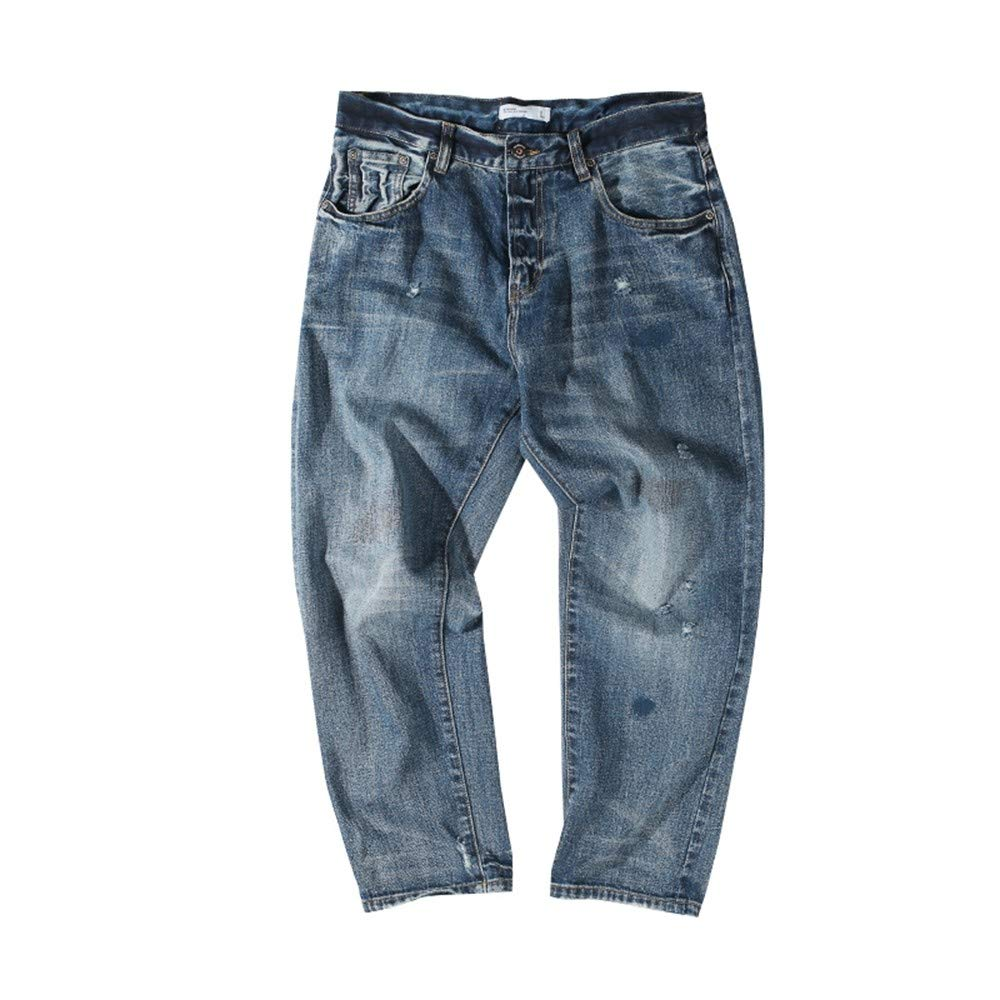 EVEORSSRA Jeanshosen Retro Jugend Wash Loch ROT Ohr Overalls Niedrig Loose Jeans Herrenbekleidung