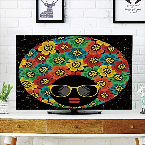 iPrint LCD TV Cover Multi Style,70s Party Decorations,Abstract Woman Portrait Hair Style with Flowers Sunglasses Lips Graphic Decorative,Multicolor,Customizable Design Compatible 42