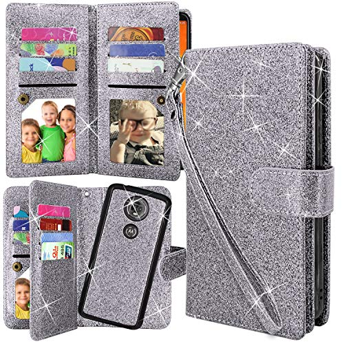 Moto E5 Plus Case, Moto E5 Supra Case,Harryshell 12 Card Slots Detachable Magnetic Wallet Case Shockproof PU Leather Flip Protective Cover Wrist Strap for Motorola Moto E Plus (5th Gen) (Glitter Grey)