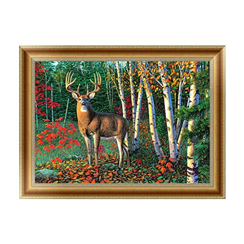 Qisuw DIY 5D Diamond Painting(Deer)-Embroidery Rhinestone Painting Cross Stitch Needlework Home Wall Art Decor Stitchwork
