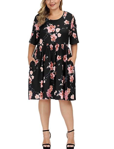 Allegrace Dress for Women Plus Size Summer Floral Print Short Sleeve Flowy  Midi Dresses with Pocket