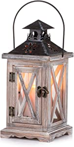 Sziqiqi Vintage Distressed Wooden Decorative Lantern for Rustic Wedding Centerpiece Hanging Lantern Farmhouse Home Decor Indoor and Outdoor Lantern Decor 28cm/11''