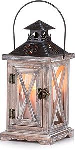 Sziqiqi Vintage Distressed Wooden Decorative Lantern for Rustic Wedding Centerpiece Hanging Lantern Farmhouse Home Decor Indoor and Outdoor Lantern Decor 28cm/11''