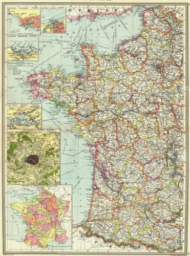 Map Of France In 1789.Amazon Com West France Le Havre Calais Cherbourg Brest Paris