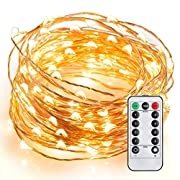 Amazon Lightning Deal 92% claimed: LeMorcy Waterproof String Lights, 8 Modes 33ft 100LED Copper Wire Starry String Lights Battery Powered with Remote Control for Outdoor, Indoor, Wedding, Garden, Christmas, Party