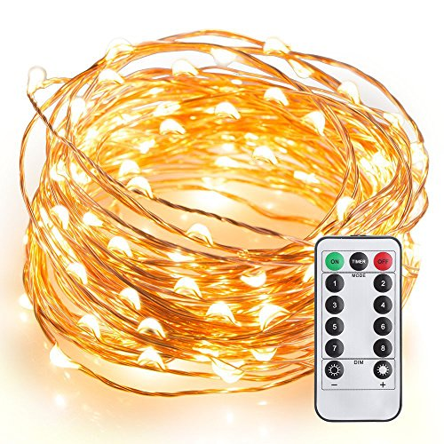 Amazon Lightning Deal 100% claimed: LeMorcy Waterproof String Lights, 8 Modes 33ft 100LED Copper Wire Starry String Lights Battery Powered with Remote Control for Outdoor, Indoor, Wedding, Garden, Christmas, Party