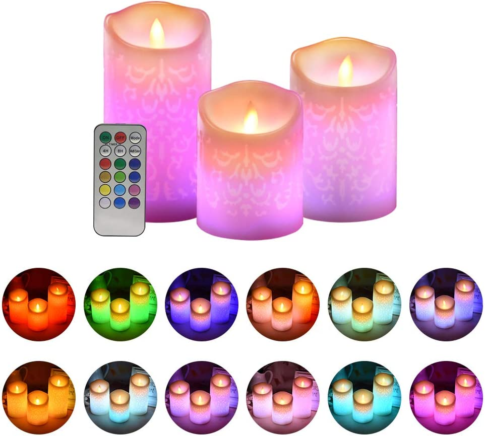 Amazon Com Across Flickering Flameless Candles Set Of 3 Real Wax Color Changing Led Pillar Candles Battery Operated Realistic Dancing Flame Fake Candles With 18 Key Remote Control For Halloween Christmas Party Home Improvement