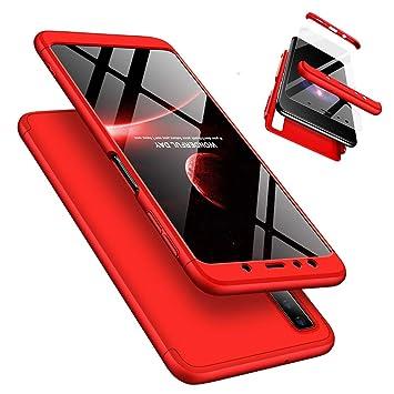 Funda Samsung Galaxy A7 2018 A750 360°Caja Caso + Vidrio Templado Laixin 3 in 1 Carcasa Todo Incluido Anti-Scratch Protectora de teléfono Case Cover ...