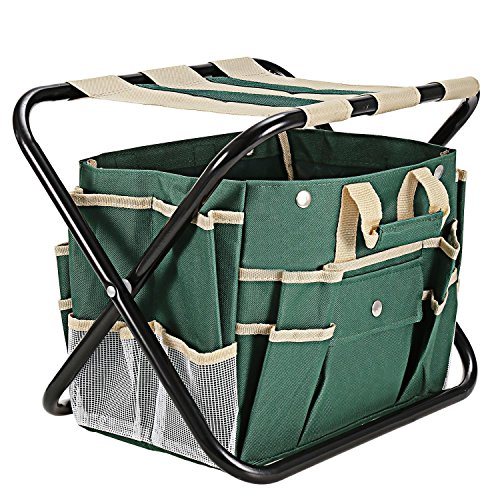 Homdox 7 Piece Garden Tool Set. Kit Includes Detachable Storage Tool Bag, Folding Stool Seat and 5 Stainless Steel Gardening Tools by Homdox (Image #3)